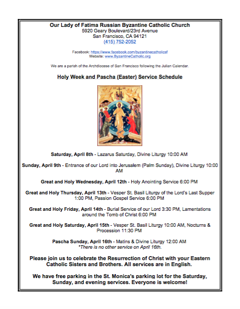 OLF Holy Week & Pascha (Easter) Service Schedule